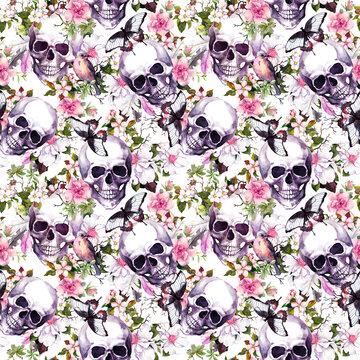 Human skulls with flowers, bird. Seamless pattern. Watercolor