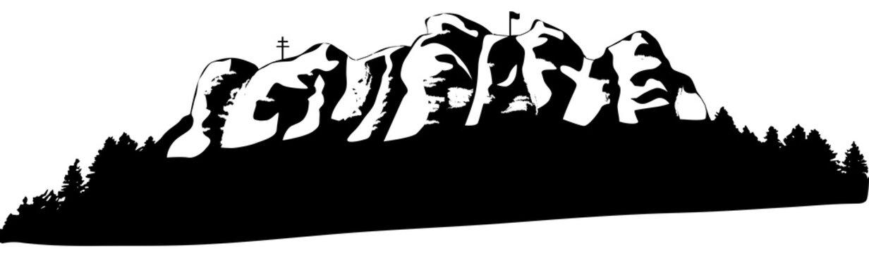 silhouette of Staffelberg in Germany in black
