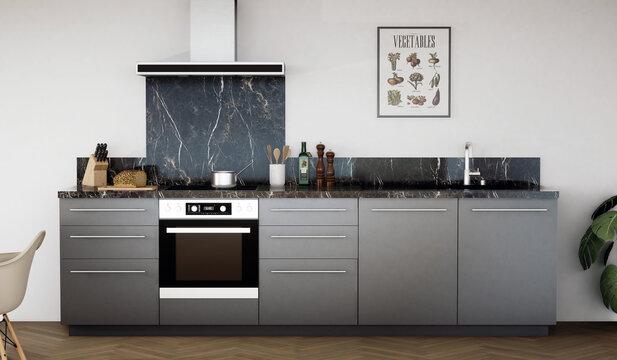 vue 3d cuisine noire avec crédence marbre noir