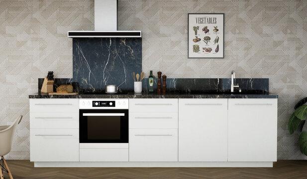 vue 3d cuisine blanche avec crédence marbre noir