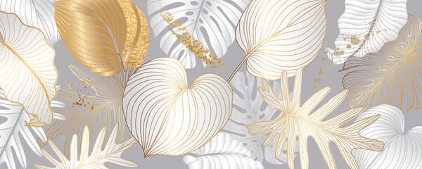 Luxury black and white background vector with golden metallic decorate wall art in tropical summer vibe