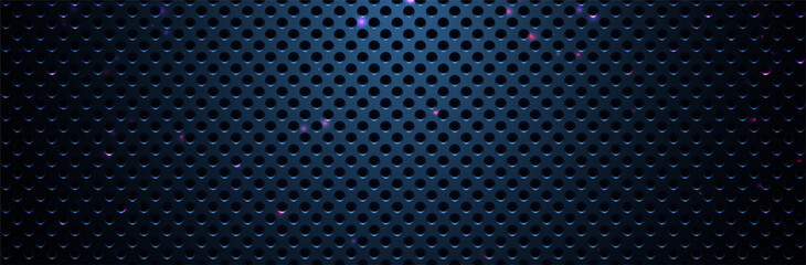 Metal plate with holes. Technology pattern. Blue background. Vector illustration
