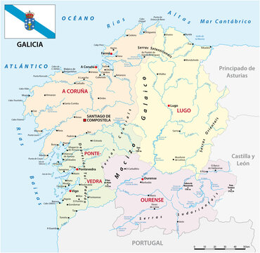 administrative vector map of the Spanish autonomous communities of galicia with flag