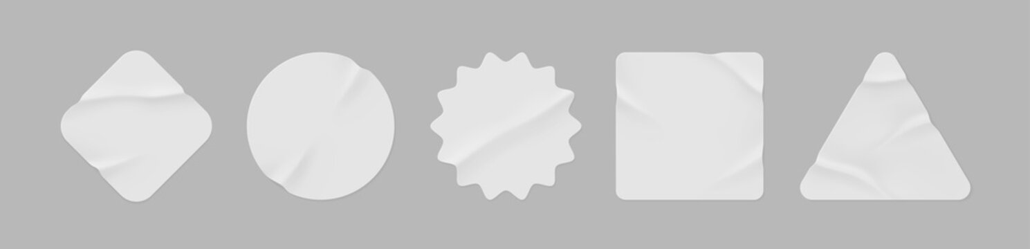 White stickers mockup. Blank labels of different shapes, circle wrinkled paper emblems. Copy space. Stickers or patches for preview tags, labels. Vector illustration