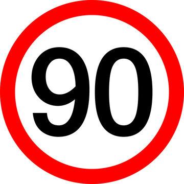 Round traffic sign, Speed limit 90 km/h.