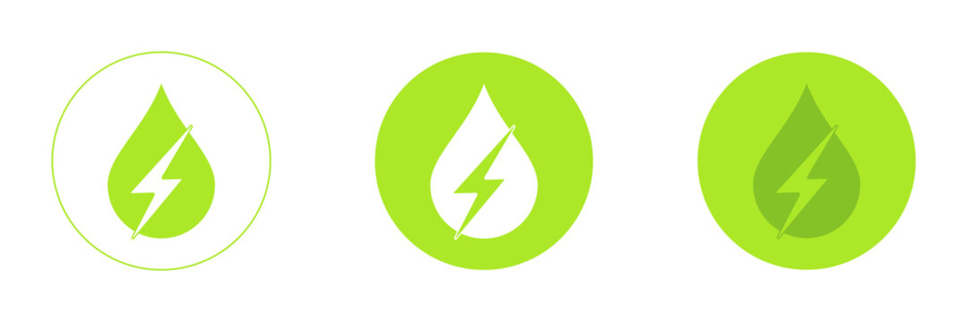Water energy icons set. Ecology in a drop of water. Green energy.
