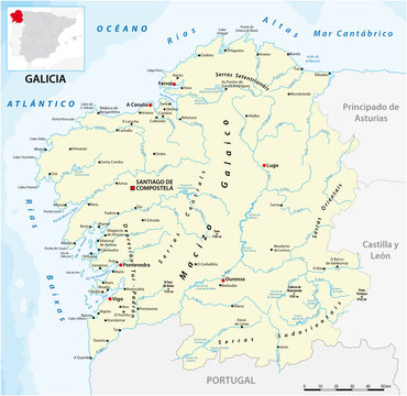 vector map of the Spanish autonomous communities of galicia