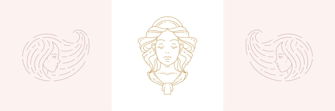 Magic female heads and woman with beauty hairstyle in boho linear style vector illustrations set.
