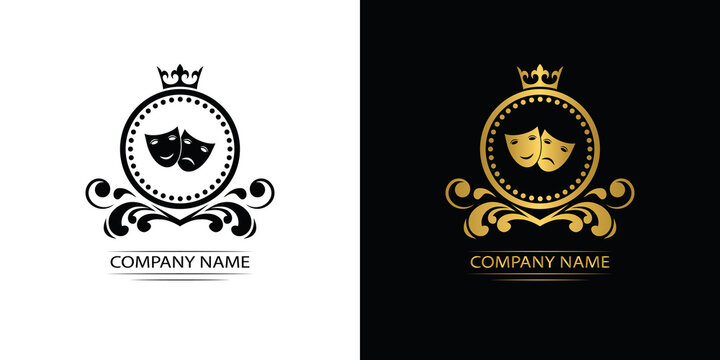 theatre logo template luxury royal vector theatre company decorative emblem with crown
