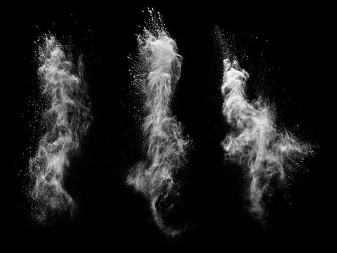 Particle variants on black isolated background.