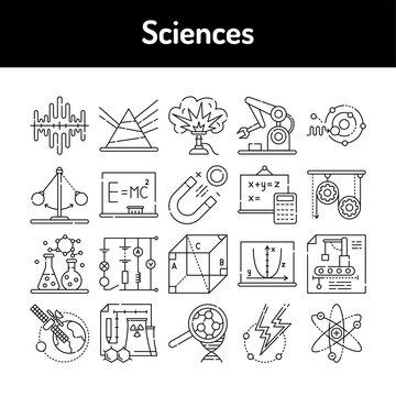 Sciences color line icons set. Signs for web page, mobile app, button, logo.