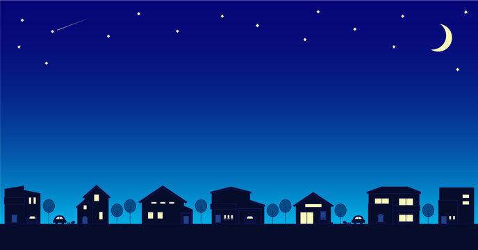 シンプルな街並みの背景素材 夜