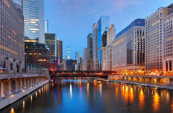 Chicago skyline after sunset showing Chicago downtown. Chicago, on Lake Michigan in Illinois, is among the largest cities in the U.S.