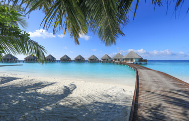 wooden pier on a tropical island, Maldives