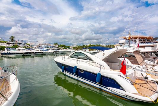 Boats and yachts in Cala D'Or marine, Mallorca island, Spain