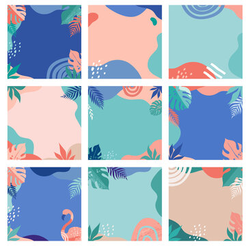 Abstract fresh and trendy design, set of modern summer sale post templates with rainbow, flamingo, pineapple, ice cream and watermelon