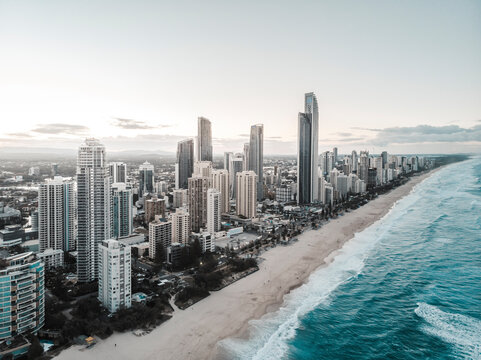 Aerial view of Surfers Paradise Skyline, Gold Coast, Australia.