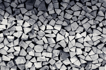 Abstract firewood natural background. Black and white toned