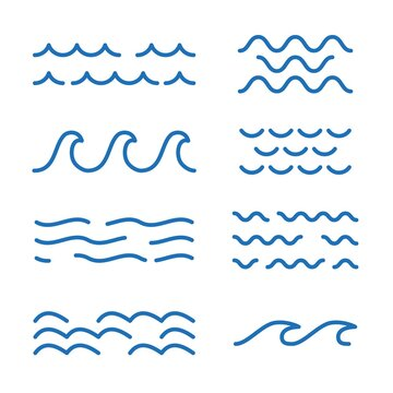 Wave icon for ocean, river, sea or water logo. Blue wavy lines template