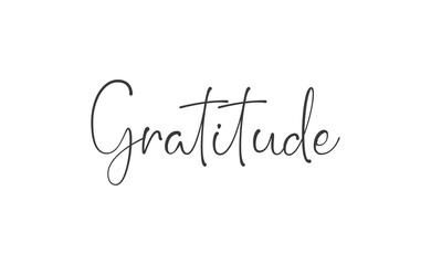 Gratitude word lettering design. Hand drawn lettering style. Thankful and motivational message.