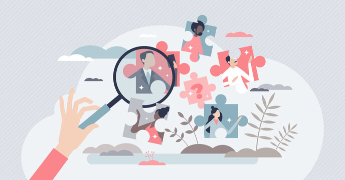 Job search and vacancy best choice as recruitment work tiny person concept. Find skilled and experienced career labor from candidates crowd vector illustration. Vacant company HR selection process.