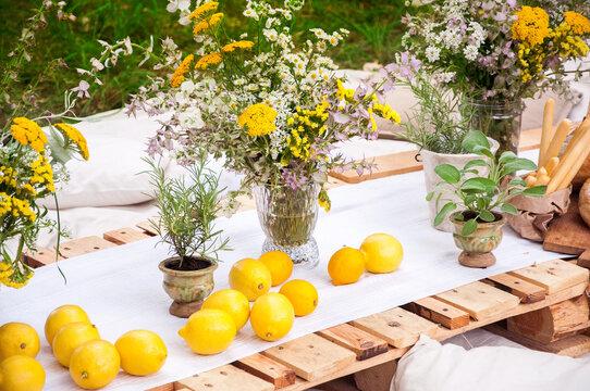 lemons for the holiday of lemons in the decor of flowers ( lemon festival france )