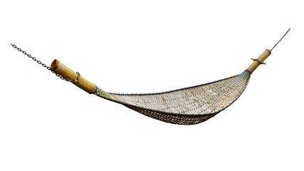 Bamboo crib with chain isolated on white background. This has clipping path.