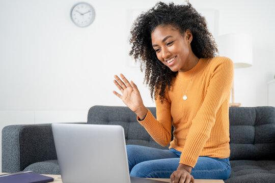 Black african american girl having a video call