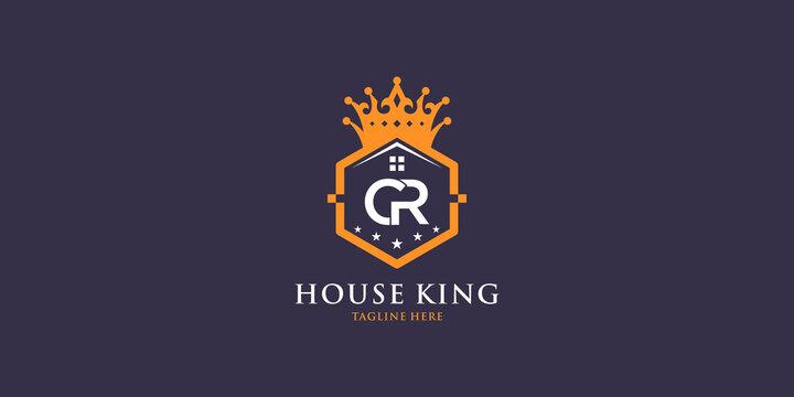 Letter cr logo with home king design inspiration