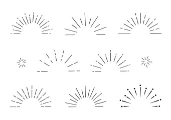 サンバースト 半円 手書き 集中線 太陽線 きらきら
