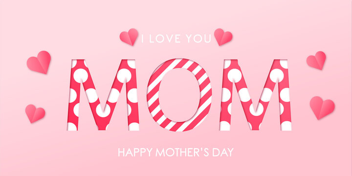 Festive banner for mother's day with text on gentle pink background with pink hearts. Cut paper effect. Vector illustration for your design of postcard, flyer, poster or website.  Vector EPS 10