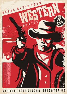 Gunman shooting with gun, retro poster concept for western movies festival. Vintage cowboy illustration. Wild west vector poster.