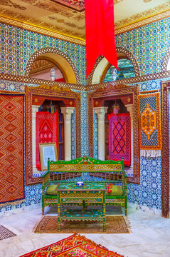 Outstanding interiors of Governor's mansion, on August 30 in Kairouan, Tunisia