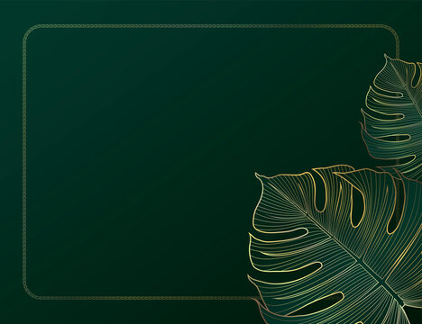 Tropical golden leaves on a green gradient background.