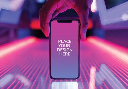 Smartphone Mockup on Neon Lights