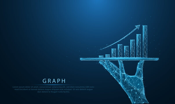Low poly wireframe of Business holding tablet and showing holographic graphs and stock market statistics gain profits in form of line, dot, and polygon. Concept of growth planning and strategy.