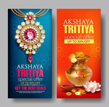 Promotion banners for Indian festival Akshya Tritiya. Vector set.
