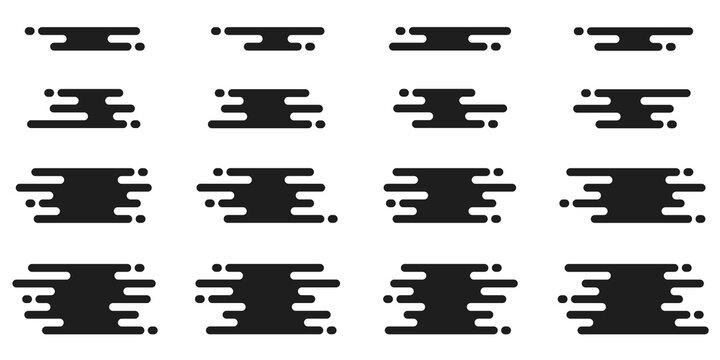 Abstract transition elements. Melting lines geometric pattern. Fluid flow splash shapes. Modern geometric transition elements. Creative flow or melting pattern. Abstract splash design. Vector set