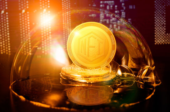 NFT bubble. NFT Non-fungible token in a soap bubble. Dangers and risks of investing to NFT cryptocurrency. Speculation, drop, down