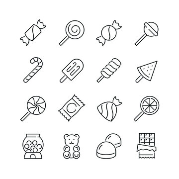 Candy related icons: thin vector icon set, black and white kit