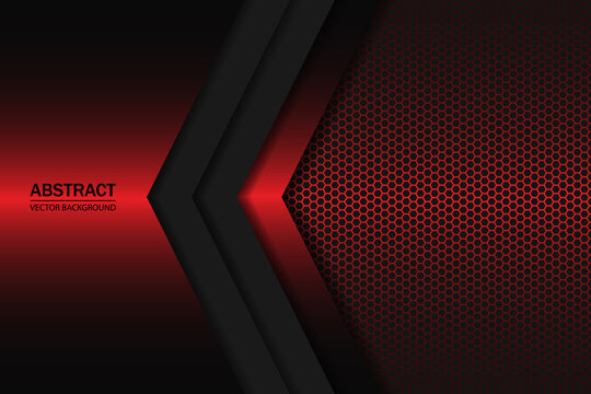 Red and black gradient geometric shapes on carbon grid. Modern background with dark red carbon fiber.