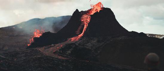 Panoramic photo pf the volcano erupting volcano.  Fototapete