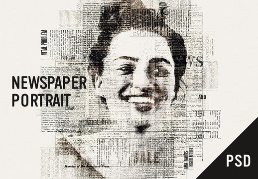 Newspaper portrait effect