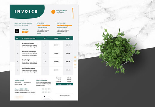 Clean Invoice Design with Green Accents