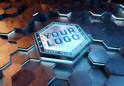 Logo Mockup on Futuristic Hexagon Pedestal with Glowing Effect