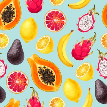 Seamless vector pattern with sliced exotic fruits
