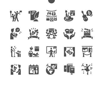 World Day of Culture 21 May. Calendar. Photo exhibition. Theater performances. Twenty first of may. Holiday. Poetic evening. People celebrating. Vector Solid Icons. Simple Pictogram
