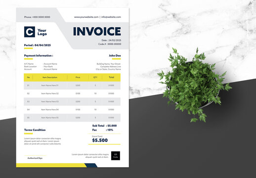 Clean Invoice Design with Yellow Accents