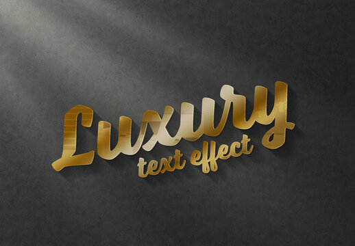 Gold Text Effect Mockup with 3D Glossy Style