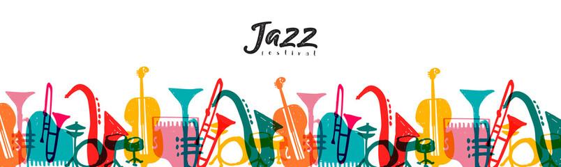 Fototapeta Jazz music instrument doodle cartoon banner